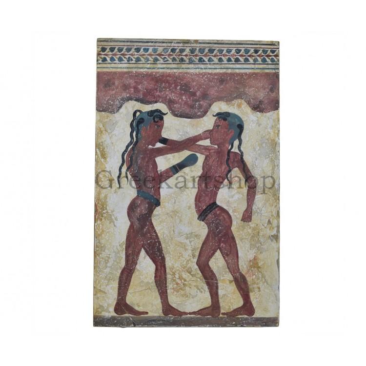 Akrotiri Boxer Fresco Minoan Real Fresco painting on wall handpainted