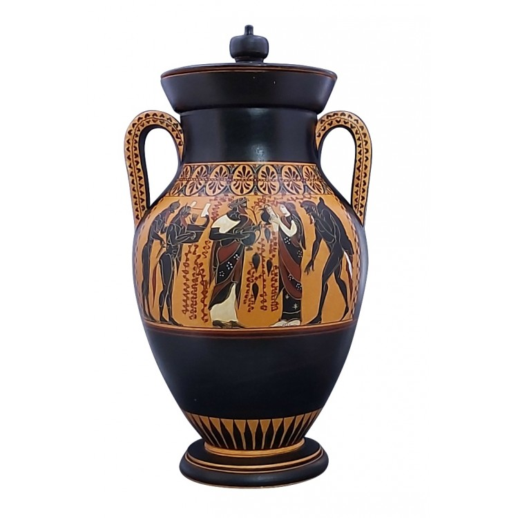 Dionysus Ariadne & Satyrs Amphora Vase Copy Ancient Greek Pottery Ceramic
