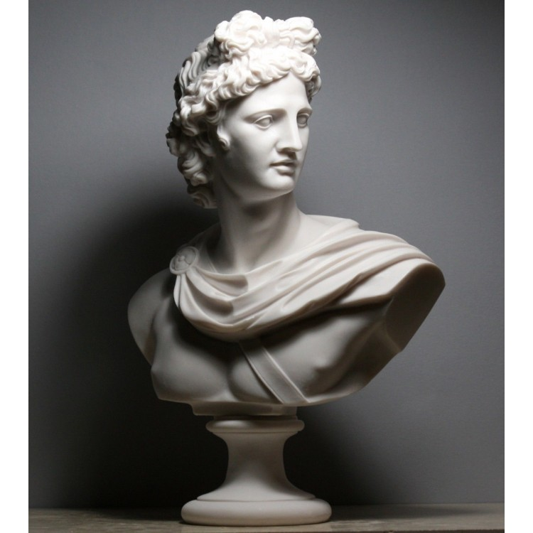 APOLLO Greek Roman God Bust Head Statue Cast Marble Sculpture Handmade 12.6""