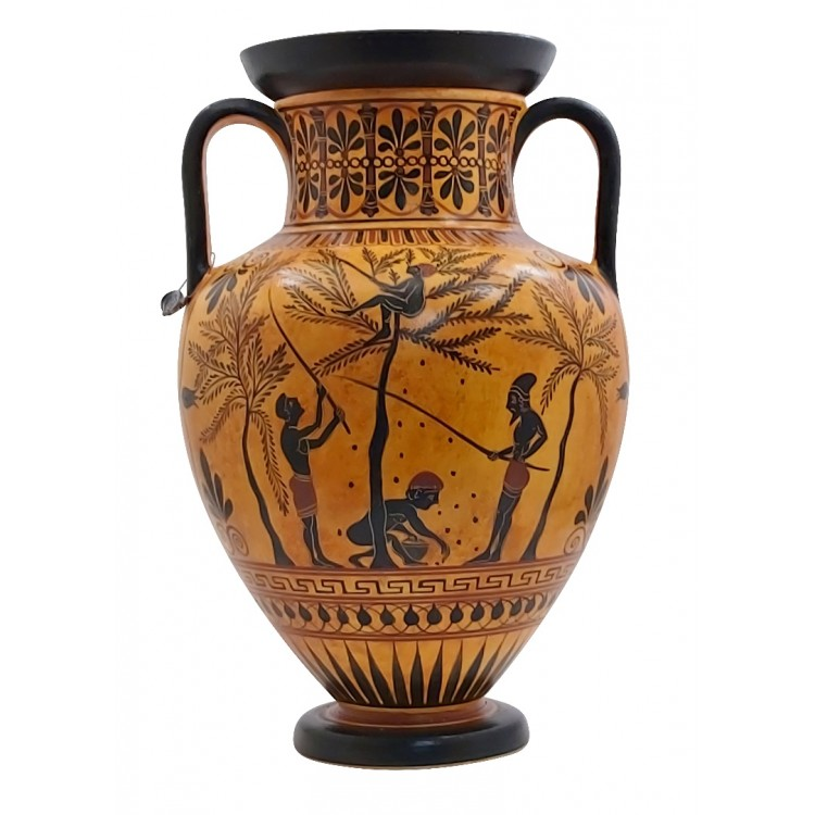 Amphora Olive Gathering Heracles Centaur Pholus Vase Ancient Greek Pottery Ceramic