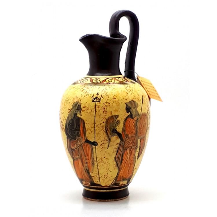 Ancient Greek Vase Pottery Vessel Pot Goddess Athena & God Poseidon 10.43 inches