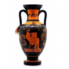 Ancient Greek Vase Red Figure Amphora Teacher of Music & Athena 12.6''