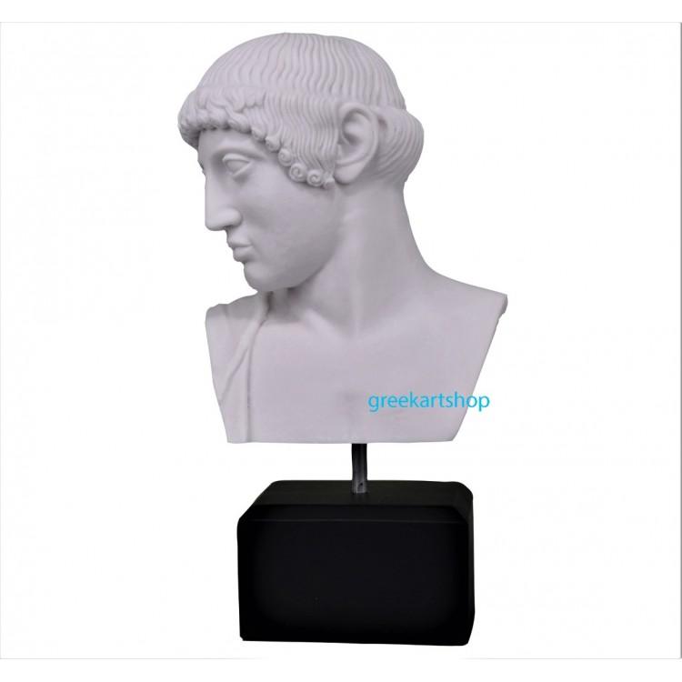 Apollo of Olympia bust head greek roman god  sculpture cast marble copy olympia museum