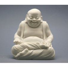 BUDDHA Laughing Budai good luck symbol Greek Statue Sculpture Cast Marble 4.7in