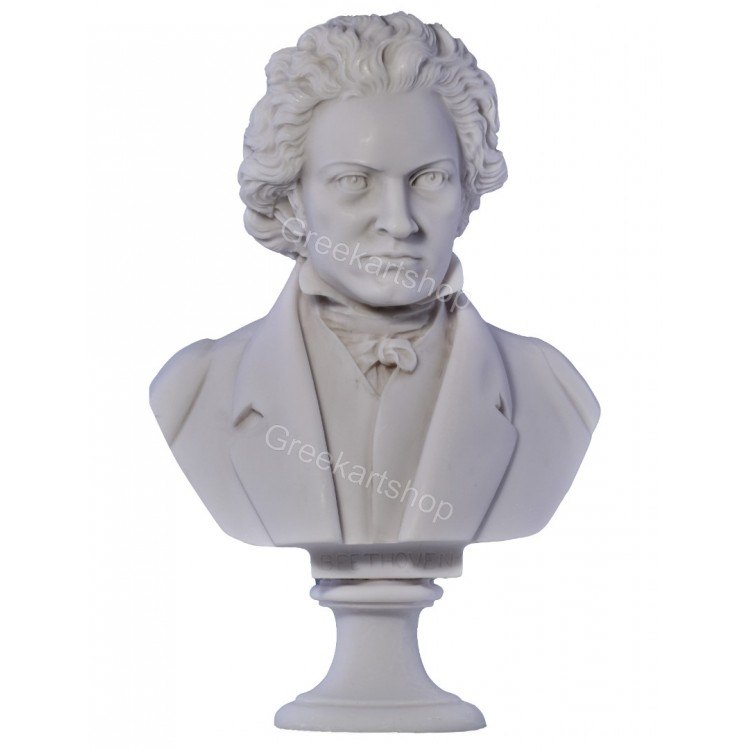 Beethoven head bust composer  pianist  classic music sculpture  statue  cast marble