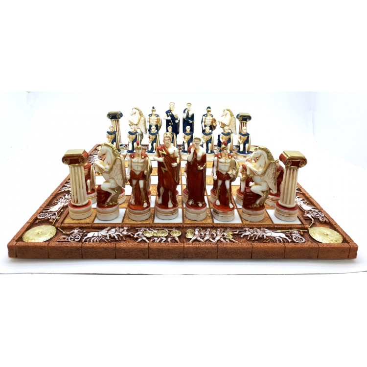 Chess Set Board & 32 Pieces Greek Roman Gods Warriors Statue Figurine Handmade