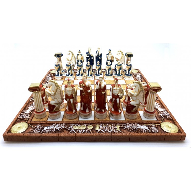 Gods And Warriors Books In Order: Chess Set Board & 32 Pieces Greek Roman Gods Warriors