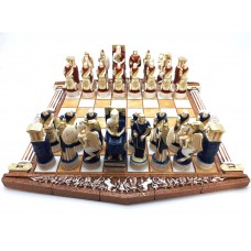 Chess Set Board & 32 Pieces Parthenon Column Greek Roman Gods Figurine Handmade