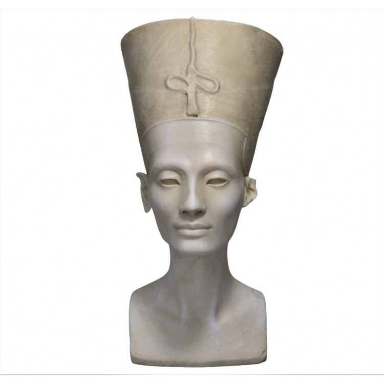 Nefertiti Queen bust Head Ancient Egypt Wife of Pharaoh Cast Marble Statue museum copy