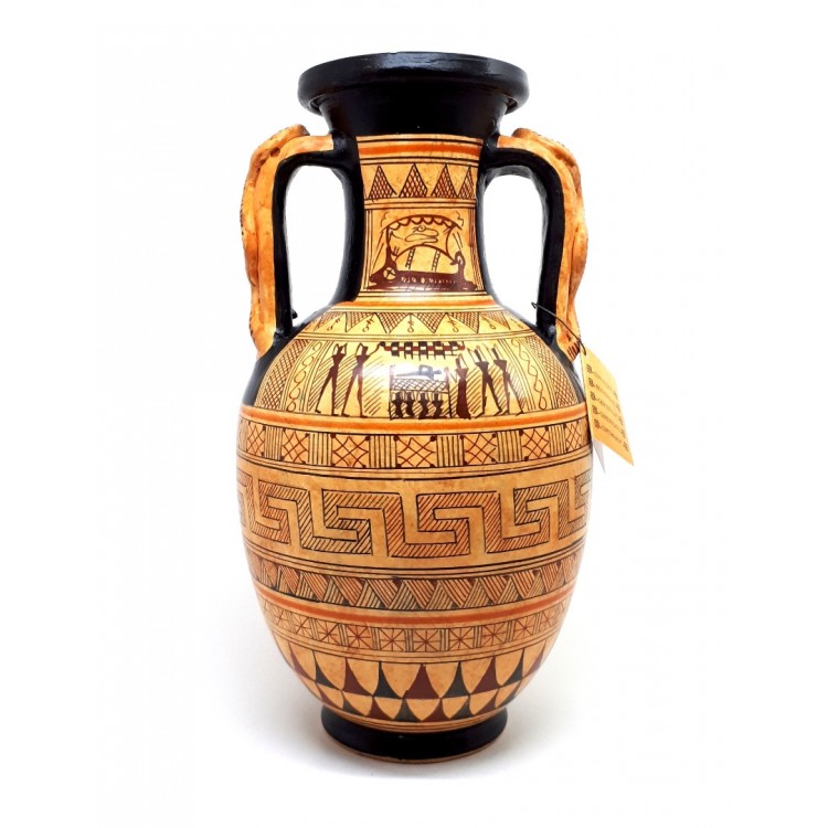 Ancient Greek Ceramic Vase Amphora Snakes Handle Geometric Art