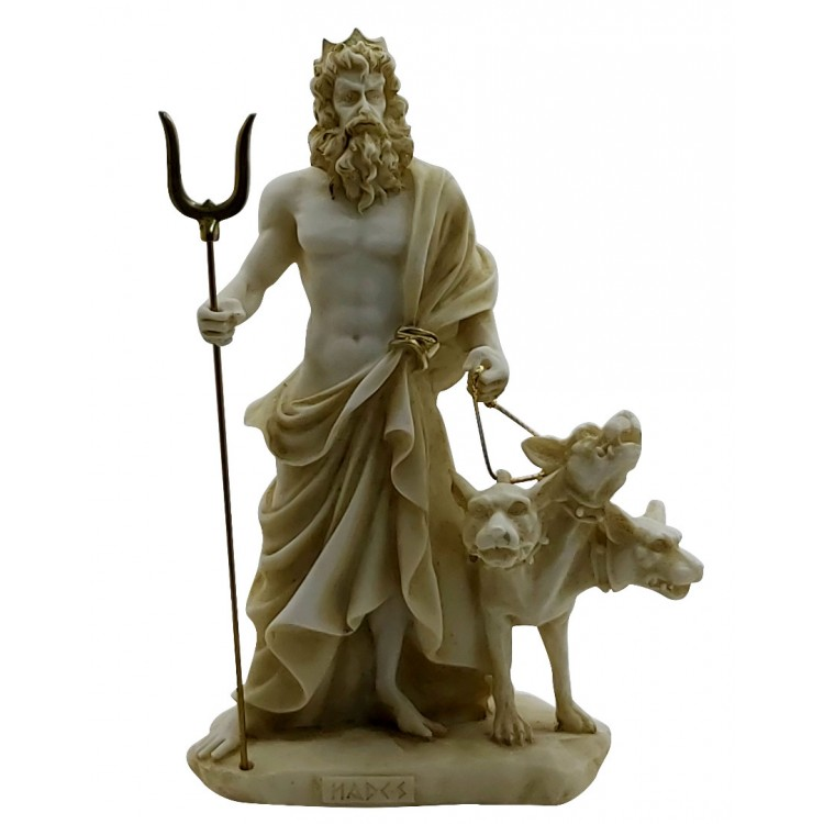 Hades Pluto God of Underworld & Cerberus Cast Marble Statue Sculpture 9.45in - 24cm
