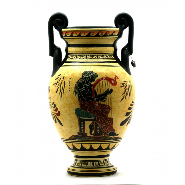 Muse playing lyre Amphora Vase Ancient Greek Pottery Ceramic 11.4in - 29 cm