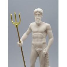 Poseidon Greek Roman God of the Sea Neptune Cast Marble Statue Sculpture 9.65''