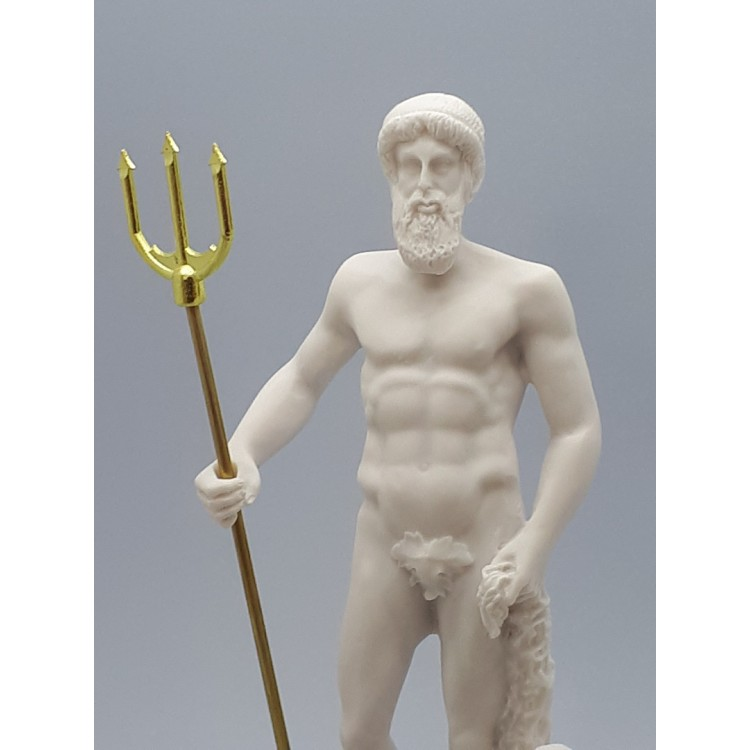 Poseidon Greek Roman God Of The Sea Neptune Cast Marble Statue Sculpture 9 65 Inches