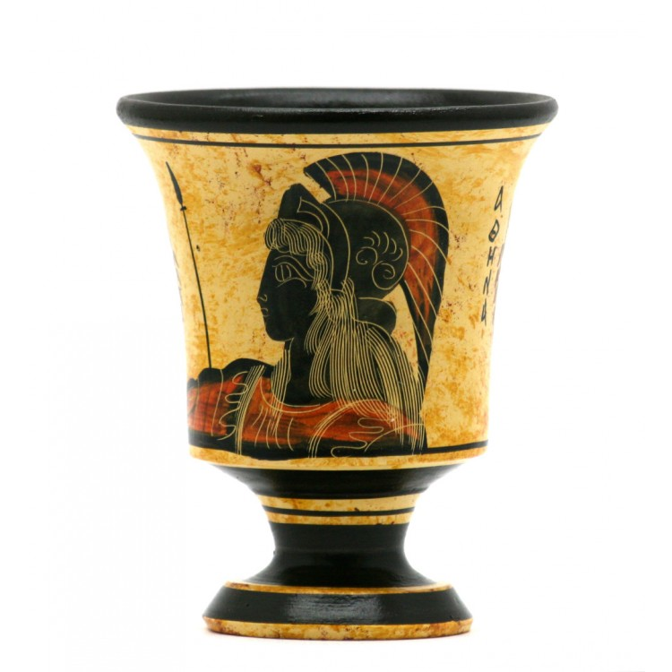 Pythagora's Cup Greek Ceramic Pottery Cup of Justice Goddess Athena 4.33 inches