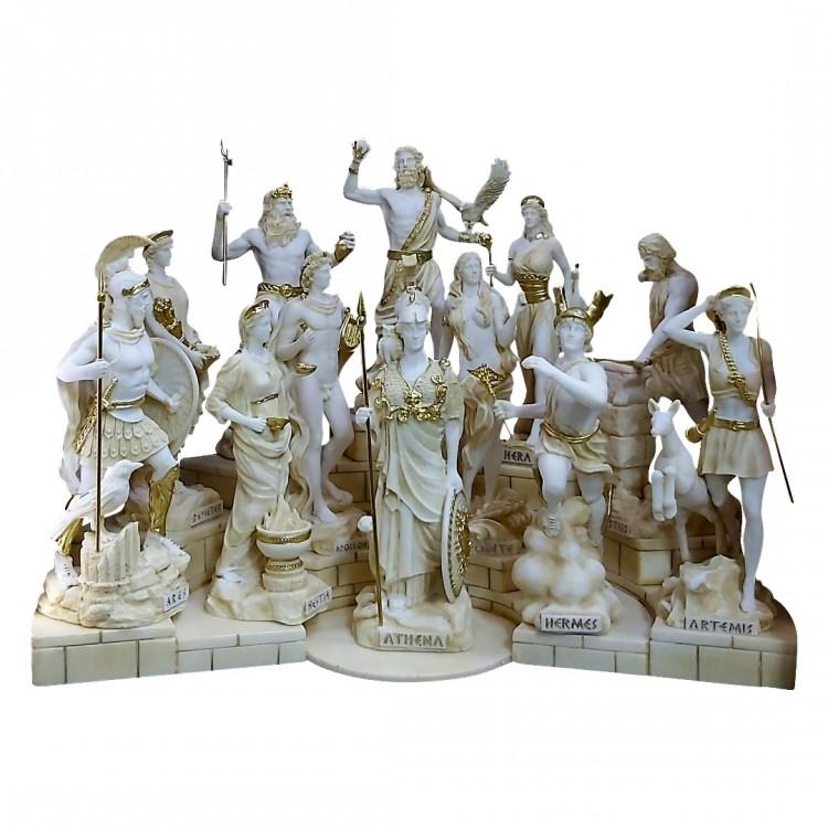 SET 12 Twelve Greek Roman Olympian Gods Pantheon Statue Sculpture Figure