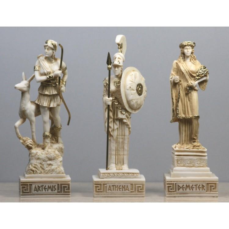 SET 3 Greek Roman Goddess ATHENA ARTEMIS DEMETER Statue Sculpture Figure