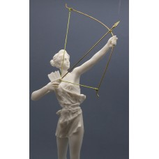 Artemis Diana with Bow Greek Roman Goddess Statue Sculpture Cast Marble 15.9 inches - 40,5 cm