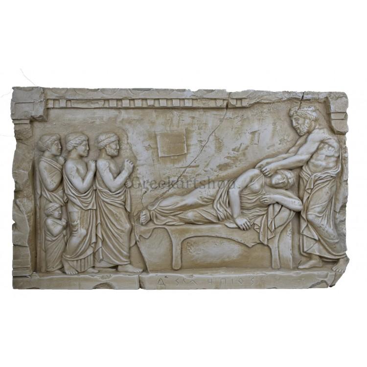 Asclepius god of medicine and goddess Hygieia physician Asclipieio relief sculpture wall decor museum copy