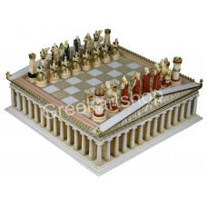 Chess Set Board Parthenon Temple & 32 Pieces Trojans and Greeks Ancient Greece
