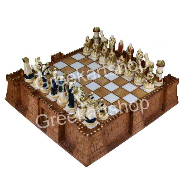 Chess Set Board Troy Castle & 32 Pieces Trojans and Greeks Ancient Greece