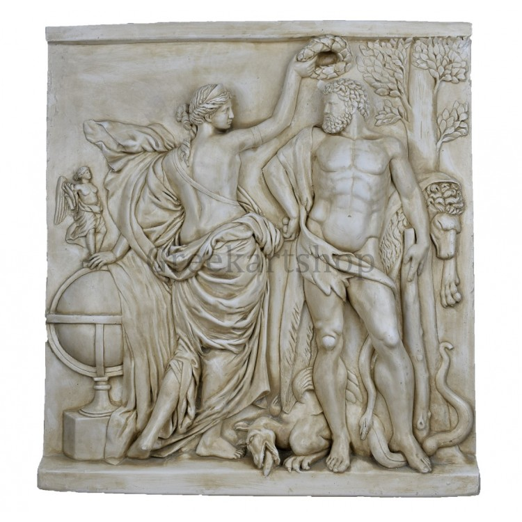 Hercules crowned by Glory Wall Decor Plaque relief Greek Sculpture cast stone Louvre Museum