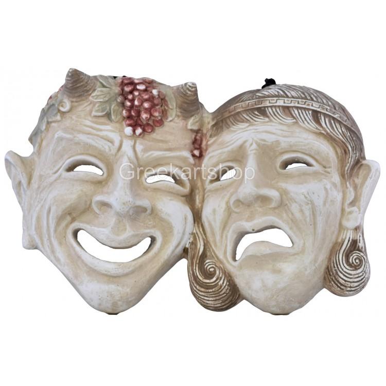 mask comedy and tragedy happy sad Greek theater symbol wall decor cast stone