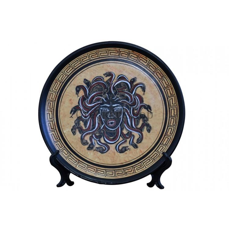Medusa monster female head snakes plate ancient greek pottery painting decor
