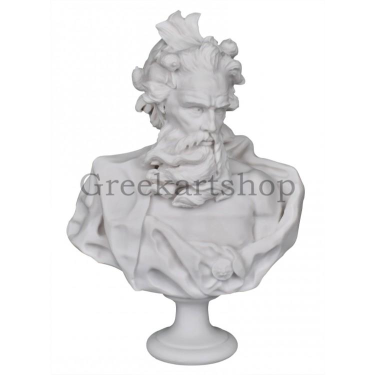 Neptune Poseidon Bust Head Greek God statue sculpture cast marble museum copy