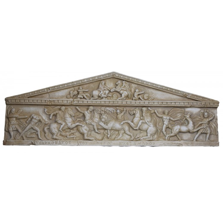 relief Great Alexander king Sarcophagus Hunting Scene Cast Stone Greek Sculpture Wall Decor