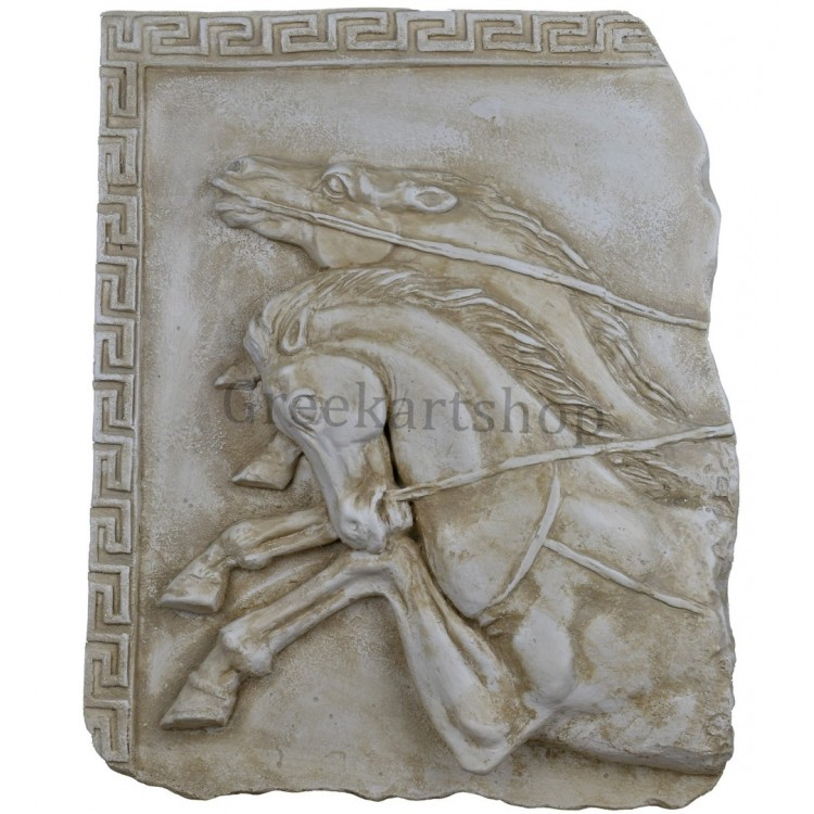 running horses relief sculpture wall decor plaque hard plaster