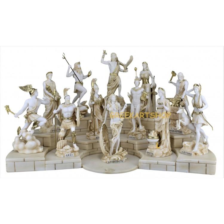 SET 12 Twelve Greek Roman Olympian Gods Pantheon Statue Sculpture Figure 6.7inches