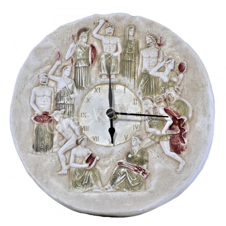 Wall Clock Relief Twelve Greek Roman Olympian Gods Sculpture Cast Stone