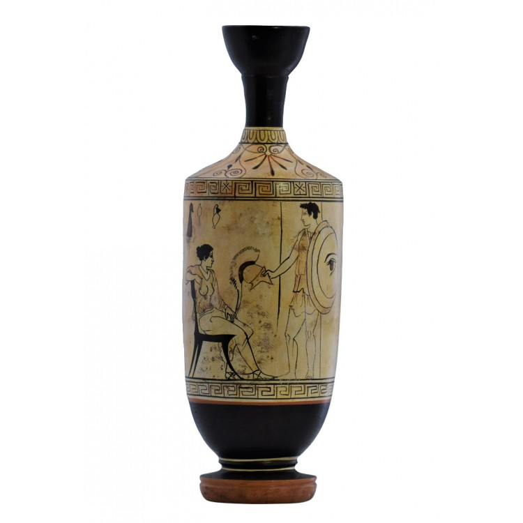 Warrior and Woman Lekythos Ceramic Vase Ancient Greek Pottery Museum Athens