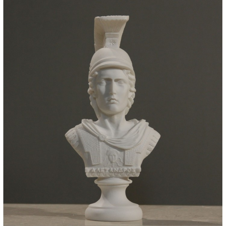Alexander the Great Macedonian King Bust Head Sculpture Alabaster Statue 7.48 inches
