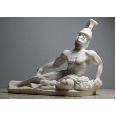 Dying Achilles Trojan War Hero Cast Alabaster Statue Sculpture Handmade Nude Male