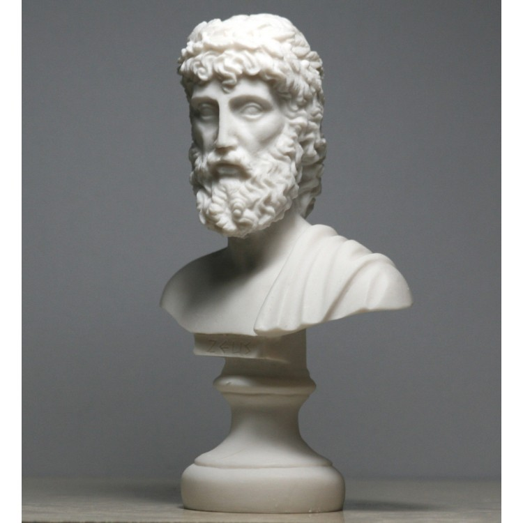Zeus Father King Of Gods Cast Alabaster Bust Head Statue