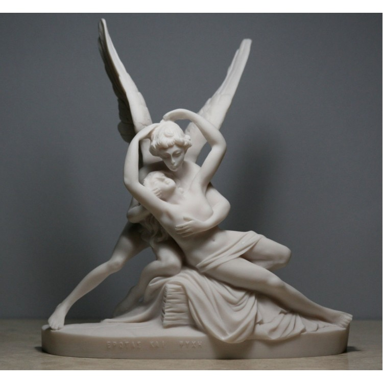 Cupid & Psyche Cast Marble Statue God Eros Nude LOVE & SOUL Sculpture Erotic Art
