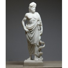 Asclepius Greek God of Medicine & Physicians Cast Alabaster Statue Sculpture 8.8 inches