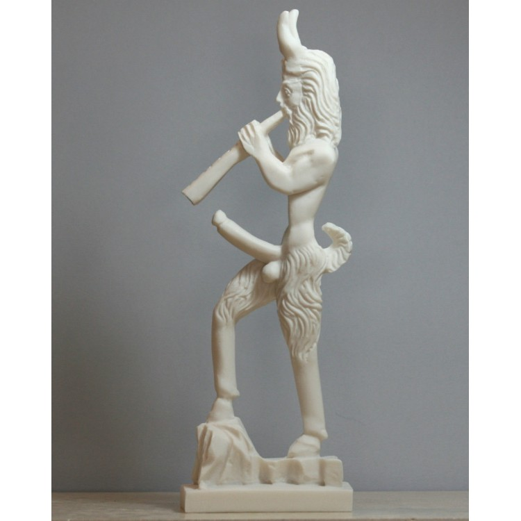 Greek Wild Nature God PAN Faunus Penis Fertility Cast Marble Statue Sculpture 11.4 inches