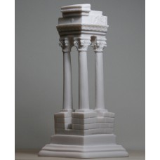 Ancient Greek Temple Ruins Corinthian Order Columns Cast Alabaster Statue 8.27 inches