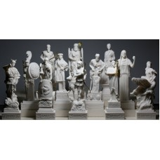 SET 12 Twelve Greek Olympian Gods Pantheon Figure Cast Alabaster Statue Sculpture