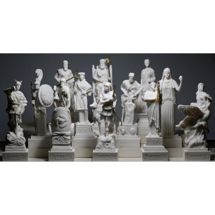 SET 12 Twelve Greek Olympian Gods Pantheon Figure Cast Alabaster Statue Sculpture
