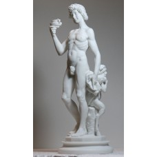 "Greek Roman God Dionysus ""Bacchus & Faun by Michelangelo"" Cast Marble Statue Sculpture 13.4΄"