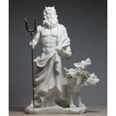 Hades Pluto God of Underworld & Cerberus Cast Marble Statue Sculpture 9.45΄΄
