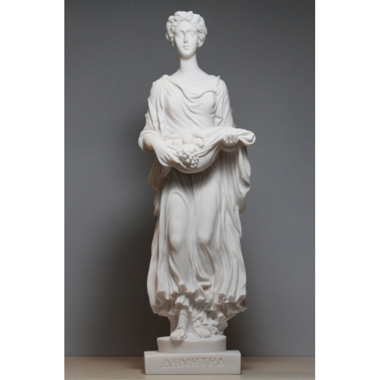 DEMETER Ceres Goddess Mother of Nature Cast Marble Statue Sculpture 13in