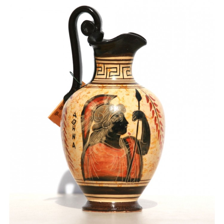 Greek Black Figure Ceramic Vase Pot Pottery Painting Goddess Athena