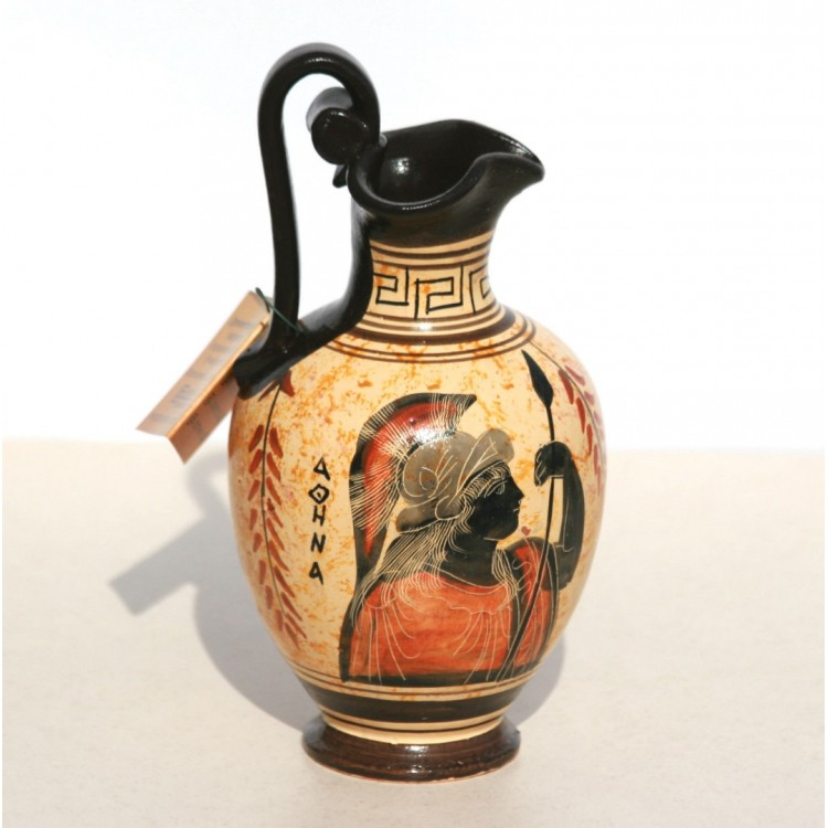 Greek Black Figure Ceramic Vase Pot Pottery Painting Goddess Athena 6 7΄΄