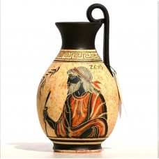 Greek black-figure Ceramic Vase Pot Pottery Painting King God Zeus 6.3 inches