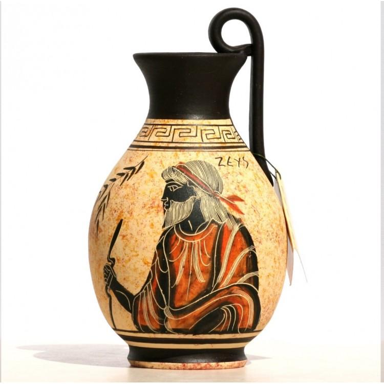 Greek black-figure Ceramic Vase Pot Pottery Painting King God Zeus 6.3 inches